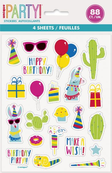 Llama Birthday Sticker Sheets (4)